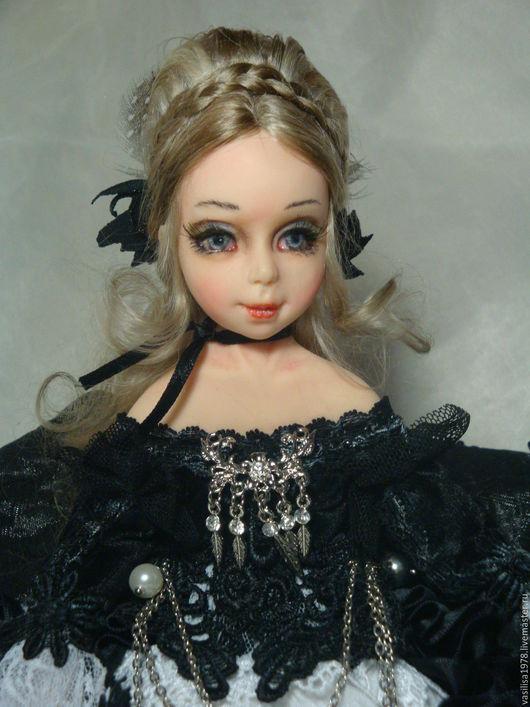 Коллекционные куклы ручной работы. Ярмарка Мастеров - ручная работа. Купить Милек. Handmade. Чёрно-белый, атлас, фимо
