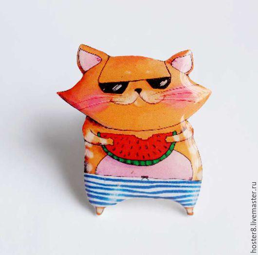"""Броши ручной работы. Ярмарка Мастеров - ручная работа. Купить Брошь """"Котя и арбуз"""" (0164). Handmade. Ярко-красный, арбузный"""
