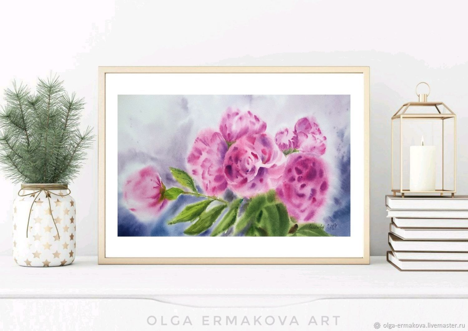 Painting with flowers pink peonies in the interior style of shabby chic Provence, Pictures, Moscow,  Фото №1