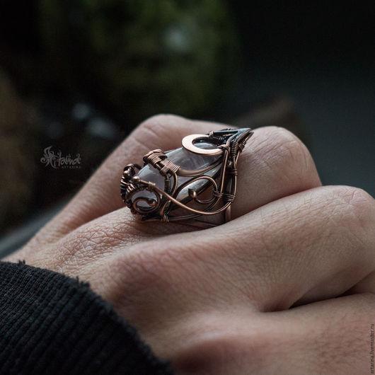Кольца ручной работы. Ярмарка Мастеров - ручная работа. Купить Медное кольцо с розовым кварцем. Wire wrap. Handmade.