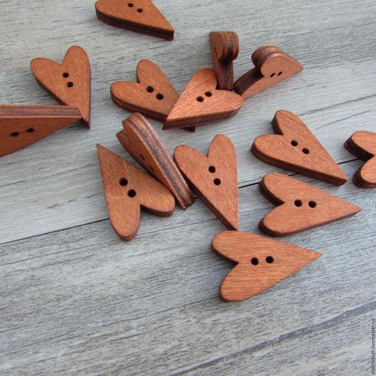 Пуговица деревянная. Пуговица Сердце тильдовское, темное дерево, 268
