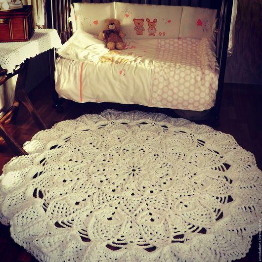 Текстиль, ковры ручной работы. Ярмарка Мастеров - ручная работа. Купить Ковер. Handmade. Белый, рельефный рисунок, крючок, эксклюзивность