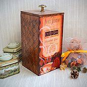 """Для дома и интерьера ручной работы. Ярмарка Мастеров - ручная работа Короб """"Время пить чай"""", для сыпучих. Handmade."""