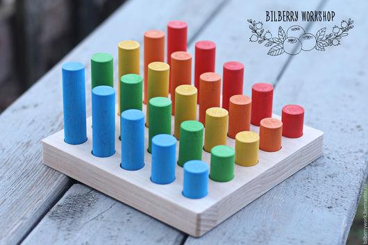 Развивающие игрушки ручной работы. Ярмарка Мастеров - ручная работа. Купить Доска с цилиндрами. Handmade. Комбинированный, доска с цилиндрами, бук