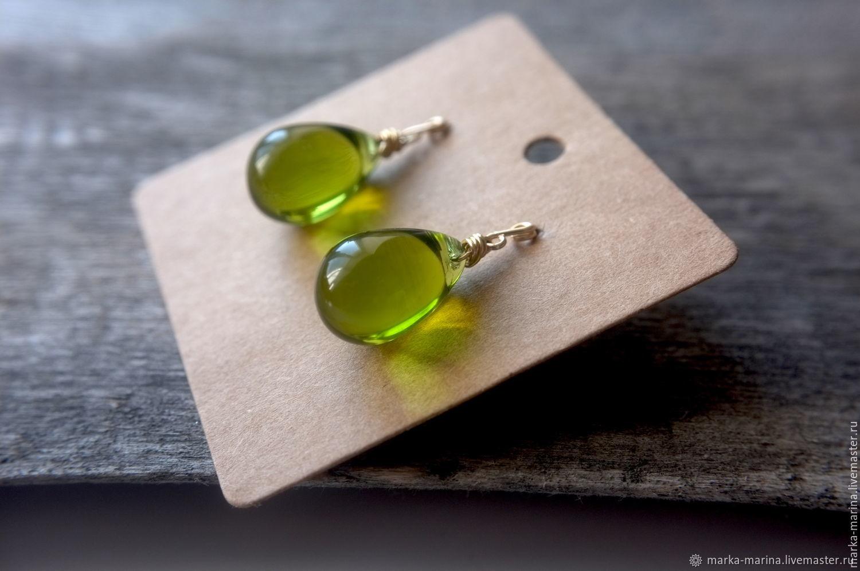 Gold drop earrings 'Green Pears', Earrings, Samara,  Фото №1