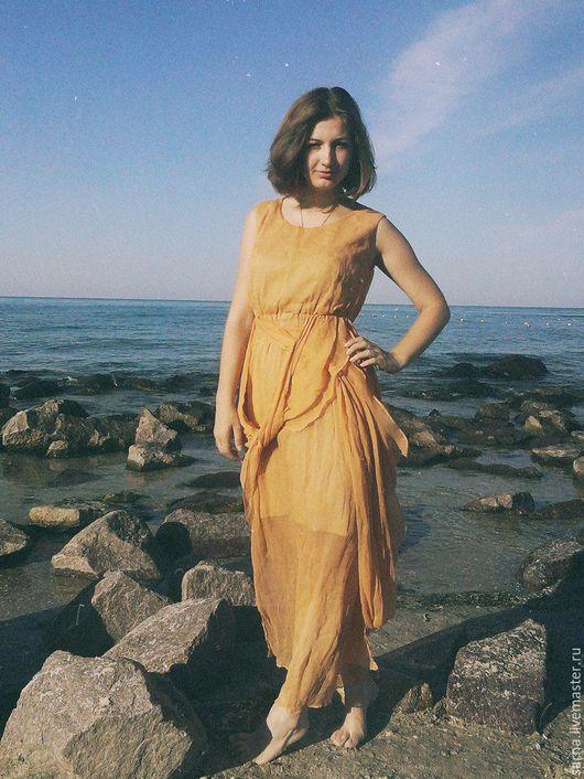 """Платья ручной работы. Ярмарка Мастеров - ручная работа. Купить Платье """"Греция"""". Handmade. Оранжевый, платье летнее, дизайнерская одежда"""