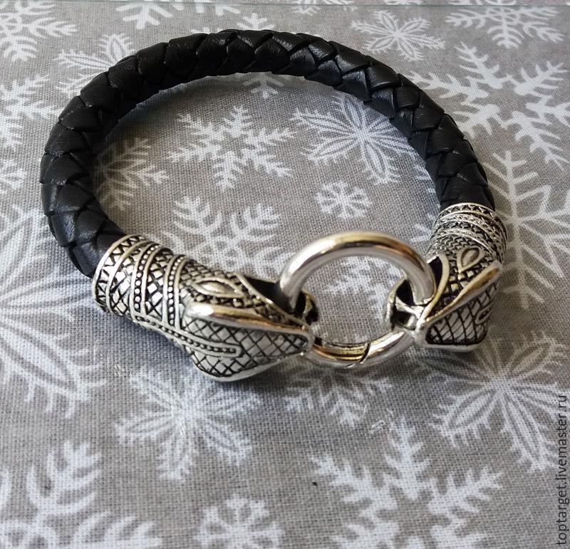 Мужской кожаный браслет со змеиными головами