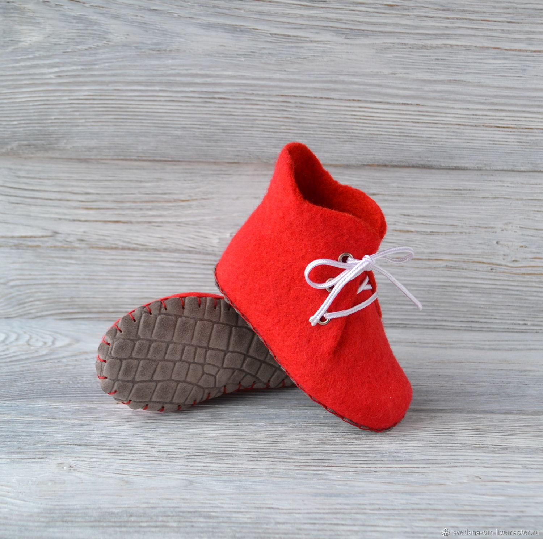 Валяные детские домашние ботиночки - тапочки Красные, Обувь, Минск,  Фото №1