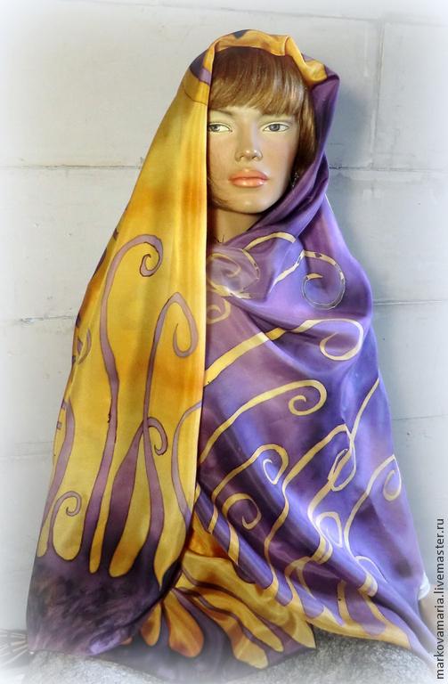 """Шали, палантины ручной работы. Ярмарка Мастеров - ручная работа. Купить Шелковый шарф палантин """"Тайна"""" ручная роспись батик. Handmade."""
