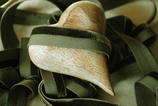 """Шитье ручной работы. Ярмарка Мастеров - ручная работа. Купить Бархатная лента-резинка  """"двойная полоса"""" Болотный (Англия). Handmade."""