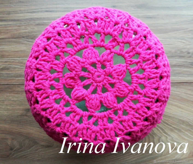 Вязаная летняя панама (шапка) для девочки крючком, размер 49-52