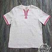 """Рубашки ручной работы. Ярмарка Мастеров - ручная работа Рубашки: Туника """"Добрыня"""" из небеленого льна. Handmade."""
