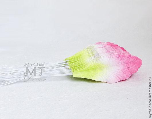 Лепестки лилии малые розово-зеленые My Thai Decor Малбери флористика из Таиланда