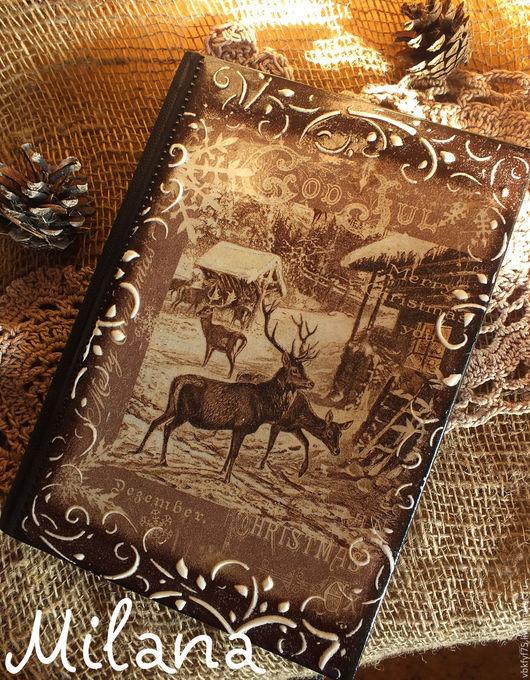 ежедневник, коричневый ежедневник, ежедневник декупаж, ежедневники декупаж, нарния, олени, домик в лесу, ежедневник в подарок, оригинальный ежедневник, купить ежедневник в Москве, ежедневник олени