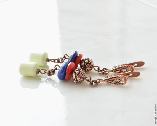 серьги, длинные серьги, яркие украшения, серьги восточные, подарок девушке, серьги в подарок, натуральные камни, бижутерия авторская