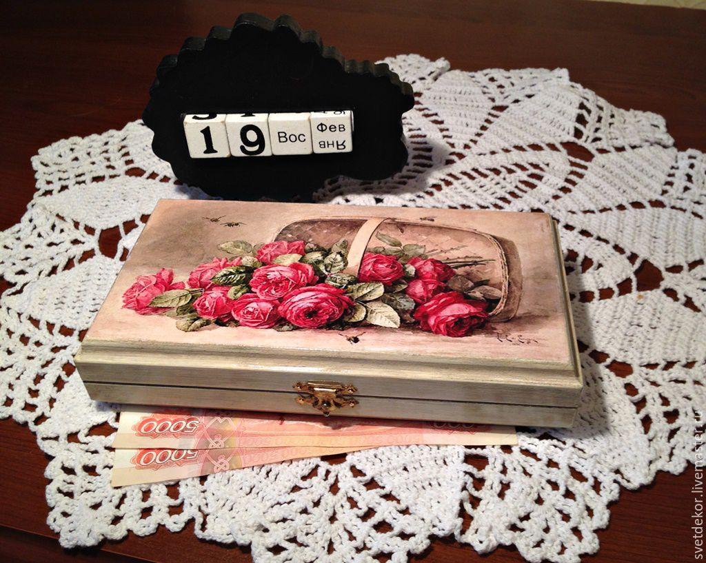 """Купюрница, шкатулка для денег """"Розы в корзине"""", декупаж, Шкатулки, Кингисепп,  Фото №1"""