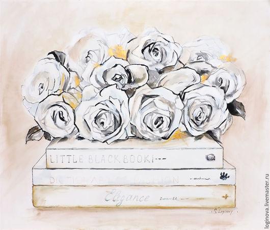 Картины цветов ручной работы. Ярмарка Мастеров - ручная работа. Купить Шебби-Розы  - картина на шелке, розы. Handmade. Белый