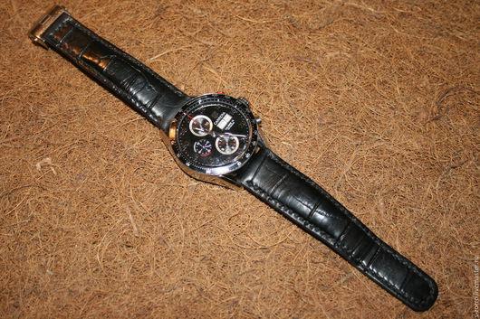 Пояса, ремни ручной работы. Ярмарка Мастеров - ручная работа. Купить Ремешок для мужских часов. Handmade. Черный, аллигатор