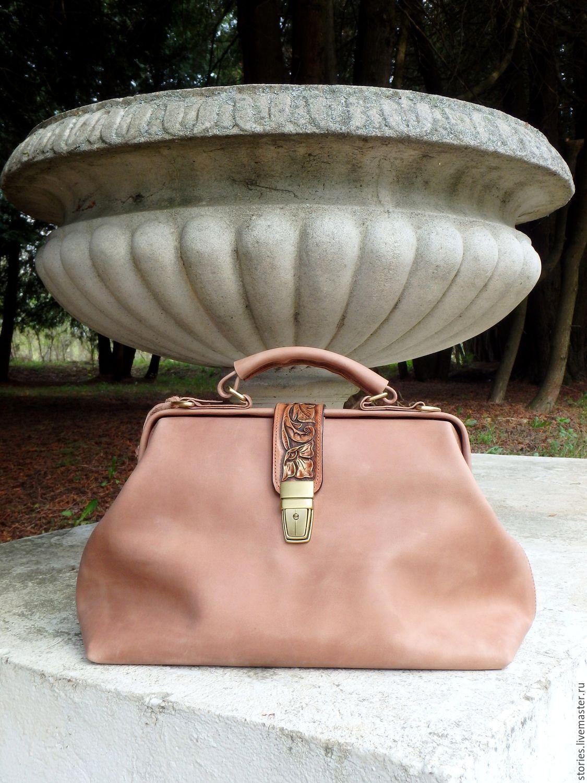 The handbag leather womens engraved Vintage flowers Beige, Valise, Dubna,  Фото №1