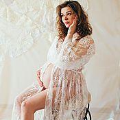 Одежда ручной работы. Ярмарка Мастеров - ручная работа Длинный кружевной пеньюар для будущих мам. Handmade.