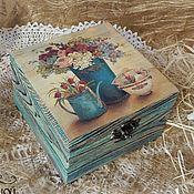 """Для дома и интерьера ручной работы. Ярмарка Мастеров - ручная работа Шкатулка """"Бирюзовое настроение"""". Handmade."""