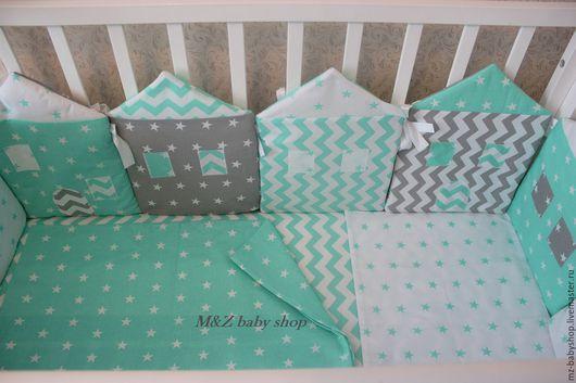 Для новорожденных, ручной работы. Ярмарка Мастеров - ручная работа. Купить Комплект постельного белья с бортиками. Handmade. Комбинированный, мятный