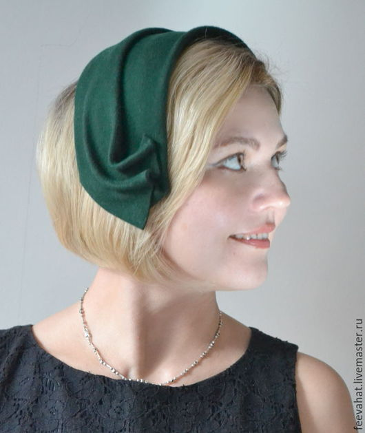"""Шляпы ручной работы. Ярмарка Мастеров - ручная работа. Купить Шляпка ободок наушники """"Изумрудная"""" из фетра. Handmade. Тёмно-зелёный"""