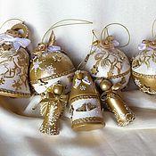 Подарки к праздникам ручной работы. Ярмарка Мастеров - ручная работа Бело-золотой Новый год. Handmade.