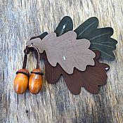 Украшения ручной работы. Ярмарка Мастеров - ручная работа дуб брошь из кожи в форме листьев дуба с желудями, оттенки коричневого. Handmade.