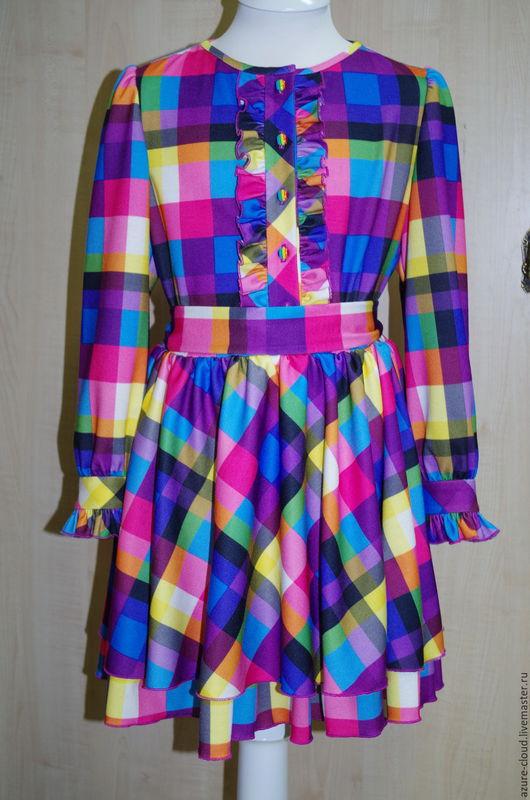 Одежда для девочек, ручной работы. Ярмарка Мастеров - ручная работа. Купить Платье в клетку для девочки. Handmade. Разноцветный, детское платье