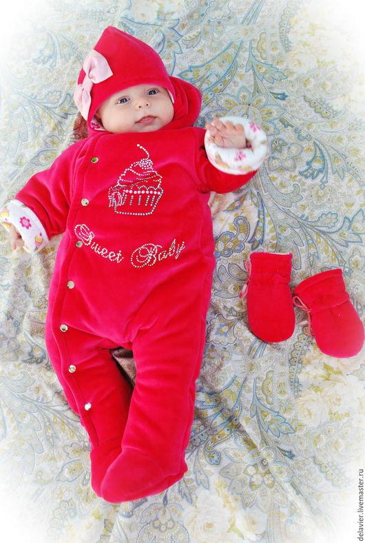 """Одежда ручной работы. Ярмарка Мастеров - ручная работа. Купить Утепленный комбинезон для новорожденных """"Sweet Baby"""". Handmade. Фуксия, на выписку"""