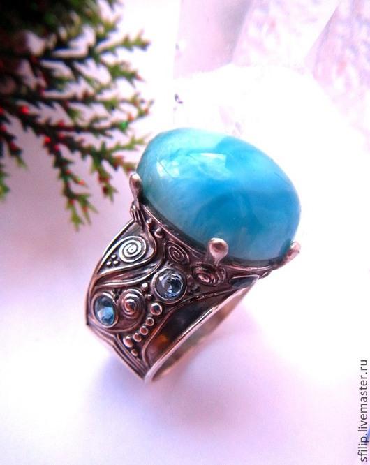 """Кольца ручной работы. Ярмарка Мастеров - ручная работа. Купить Кольцо """" Boheme"""" - ларимар,Sky blue топаз,серебро 925. Handmade."""