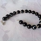 Украшения handmade. Livemaster - original item Men`s amulet bracelet made of black onyx and jet with 925 silver.. Handmade.