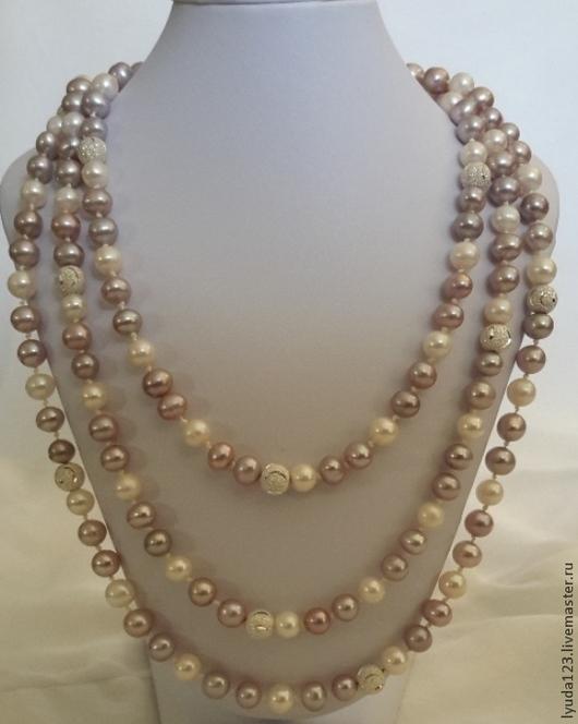 Длинное ожерелье из лилового и белого жемчуга LyuPearls