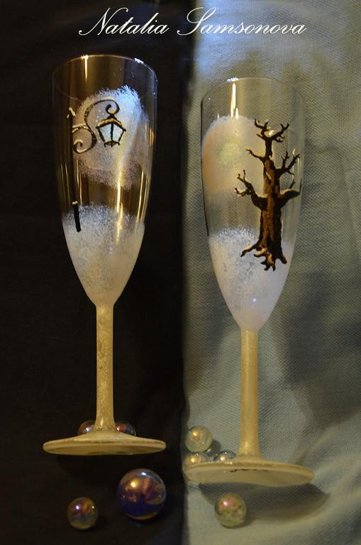"""Бокалы, стаканы ручной работы. Ярмарка Мастеров - ручная работа. Купить Бокалы """"Настроение"""" (пара). Handmade. Зима, дерево, стекло"""