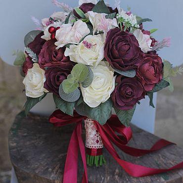 Свадебный салон ручной работы. Ярмарка Мастеров - ручная работа Букет невесты , Свадебный букет красный , букет невесты с пионами. Handmade.