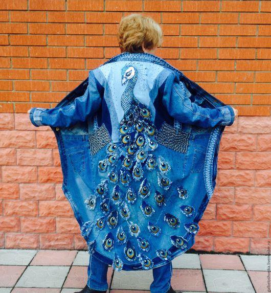 """Верхняя одежда ручной работы. Ярмарка Мастеров - ручная работа. Купить Джинсовое пальто """"Павлин"""". Handmade. Синий, пальто летнее"""