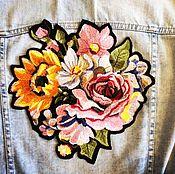 Аппликации ручной работы. Ярмарка Мастеров - ручная работа Вышитая аппликация нашивка Цветы. Handmade.