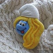 Украшения handmade. Livemaster - original item Felted Smurfette brooch. Handmade.
