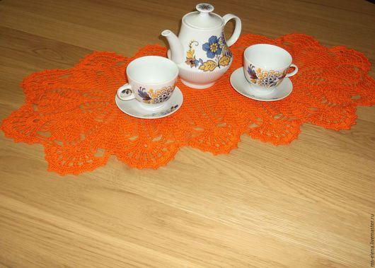 Текстиль, ковры ручной работы. Ярмарка Мастеров - ручная работа. Купить Салфетка овальная. Handmade. Оранжевый, 100% мерсеризованный хлопок