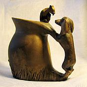 Для дома и интерьера ручной работы. Ярмарка Мастеров - ручная работа Кувшин-молочник с таксой и котенком. Handmade.