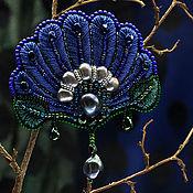 Украшения ручной работы. Ярмарка Мастеров - ручная работа Нимфея. Брошь с вышивкой синяя зеленая. Handmade.