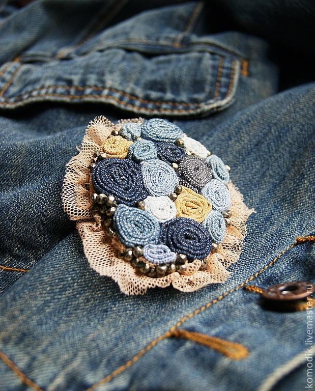 Брошь из джинсы своими руками мастер класс