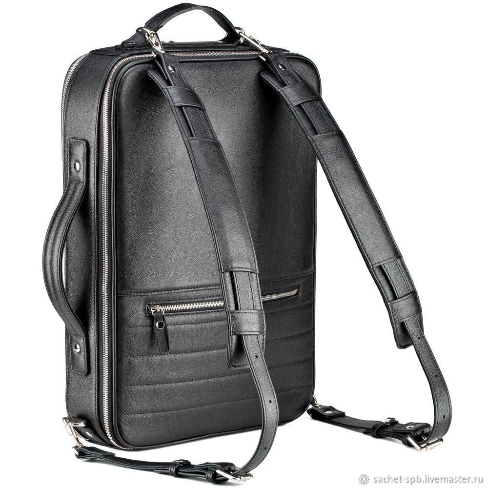 """Кожаный рюкзак-сумка """"Лесснер"""" (черный), Classic Bag, St. Petersburg,  Фото №1"""