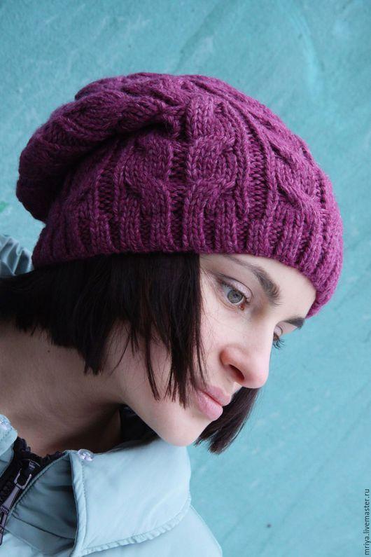 Шапки ручной работы. Ярмарка Мастеров - ручная работа. Купить Шерстяная шапка бини с ажурной вязкой косами холодно-розового тона. Handmade.