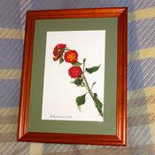 Картины и панно ручной работы. Ярмарка Мастеров - ручная работа Постер картины акварелью Турецкий цветочек, зеленый малиновый. Handmade.