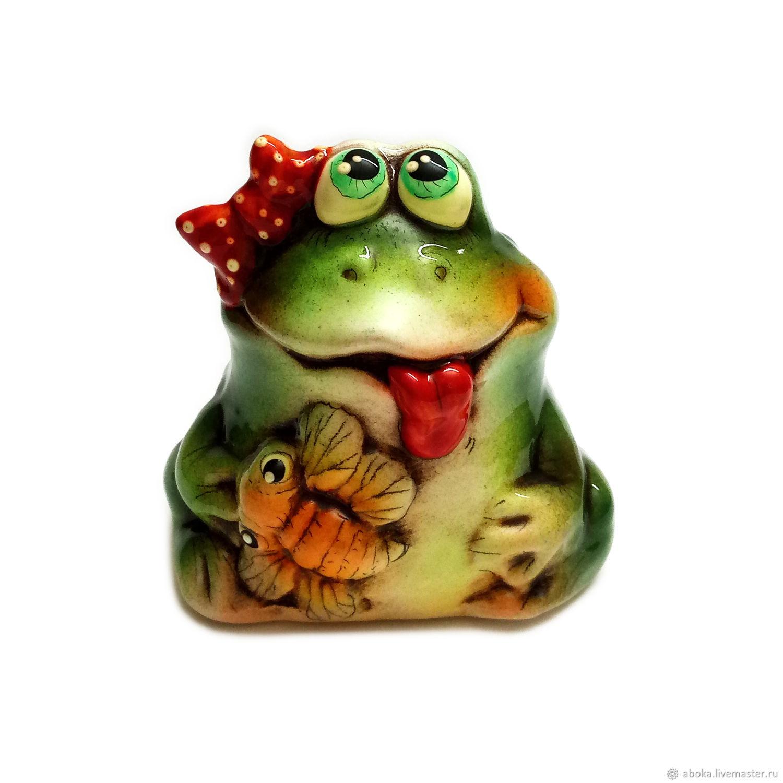 Ceramic figurine ' Frog with a fly', Figurine, Balashikha,  Фото №1