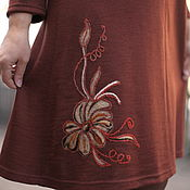 """Одежда handmade. Livemaster - original item Knitted dress """"Cosy for You with embroidery"""" (brown, cinnamon, beige). Handmade."""