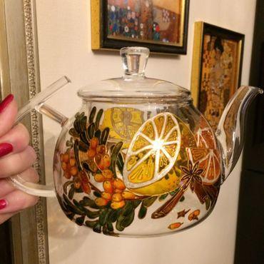 Посуда ручной работы. Ярмарка Мастеров - ручная работа Заварочный чайник Лимон и облепиха. Handmade.