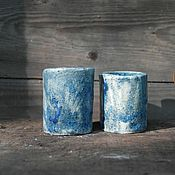 Бокалы ручной работы. Ярмарка Мастеров - ручная работа Стопки синие. Handmade.